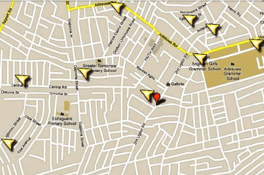 b Sampling location map of a section of Oredo Local Government Area     b Sampling location map of a section of Oredo Local Government Area  Source    2011