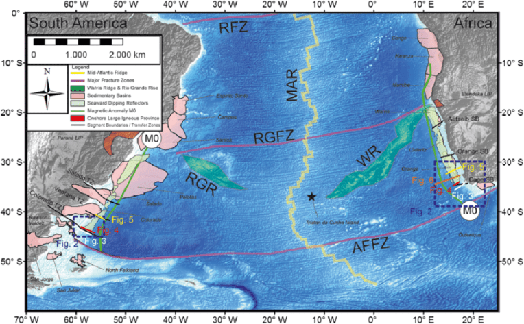 Regional map of the South Atlantic showing the topography and     Regional map of the South Atlantic showing the topography and bathymetry   as well as important regional features  These features include sedimentary  basins