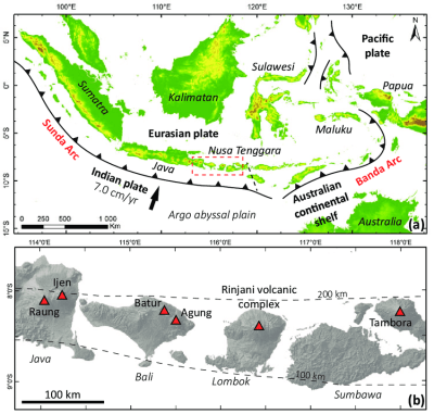 (a) Map of the Indonesian volcanic arc system, showing the ...