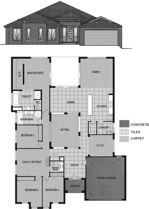 Floor plan and front elevation of the case study house    Download     Floor plan and front elevation of the case study house