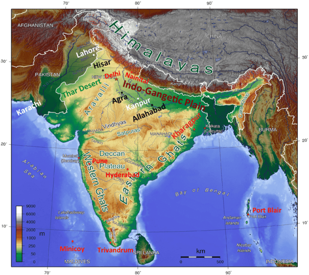Topography of South Asia and the locations of the stations used in     Topography of South Asia and the locations of the stations used in this       Download Scientific Diagram