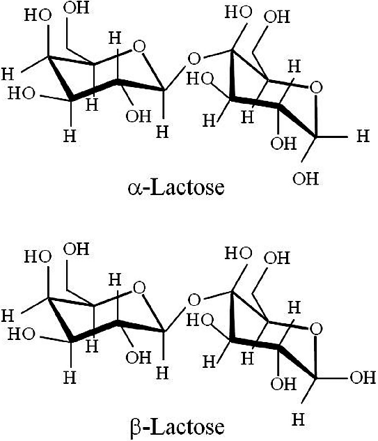 Molecular structures of α-D-lactose (α-lactose) and β-D ...