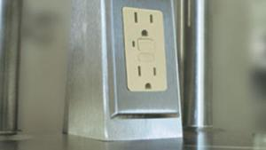 """Duplex Electrical Outlet """"Doghouse"""" On Top Of Work"""