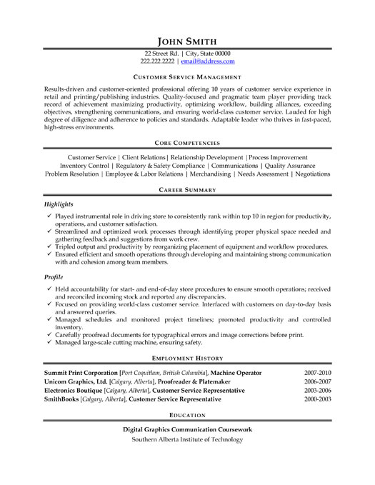 Service Manager Resume Template
