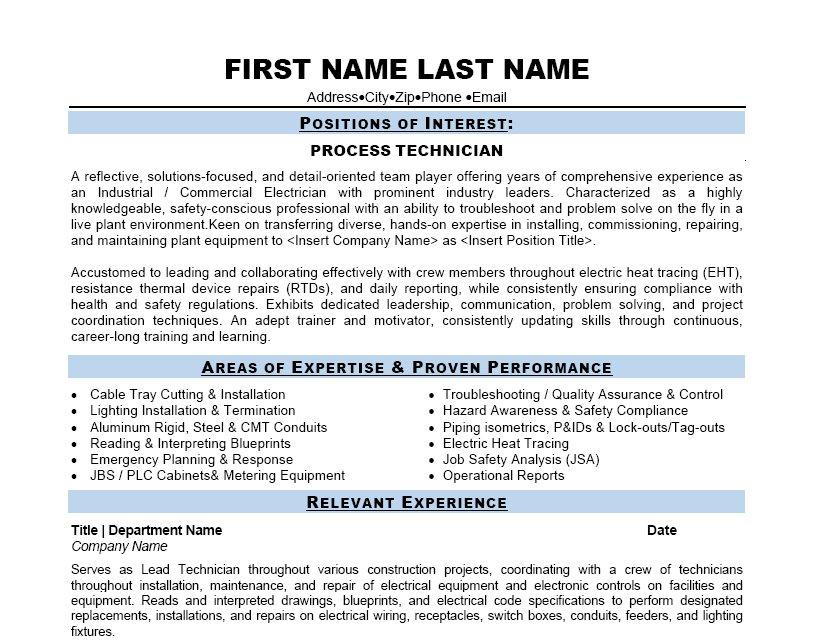 Chemical Process Operator Resume Sample