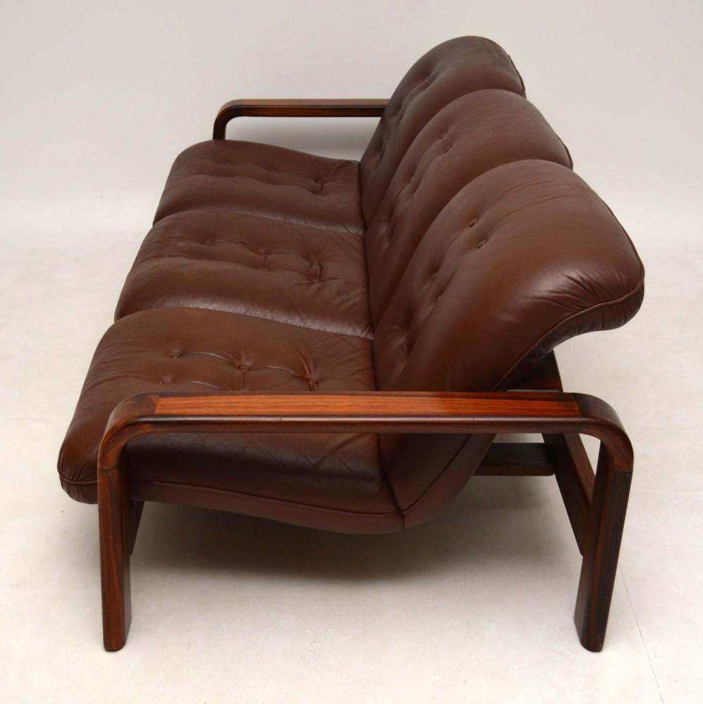 Danish Retro Rosewood Amp Leather Sofa Vintage 1960 S
