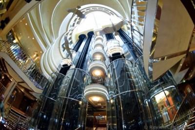 Norwegian Star Atrium Glass Elevators with Herons above ...