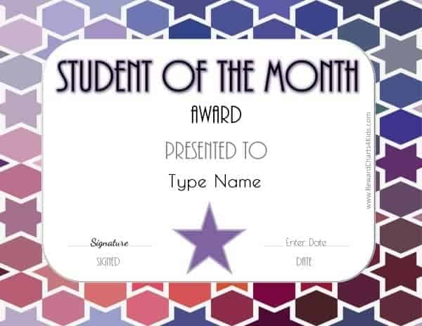 Free Student Of The Month Certificate