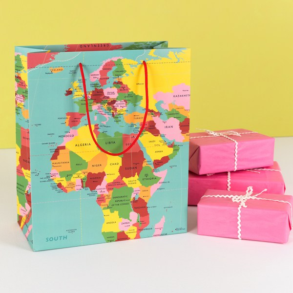 Large World Map Gift Bag   Rex London  dotcomgiftshop