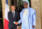 PHOTOSCENE: French President Macron meets Buhari in Abuja