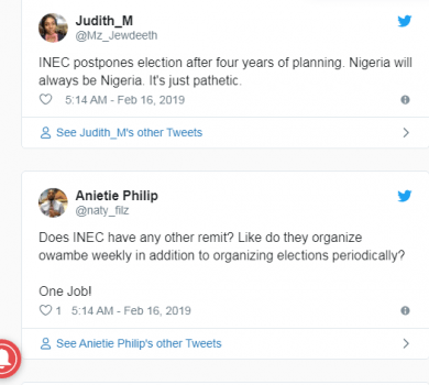 Hard knocks for INEC on Twitter over shift in polls