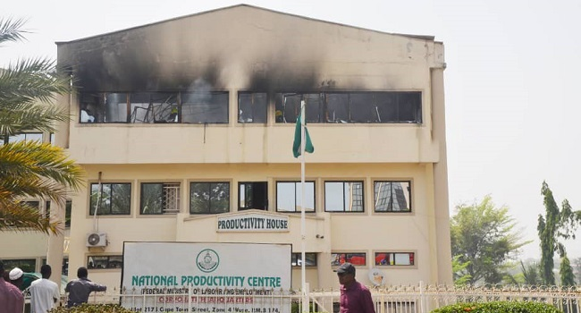 Fire guts government agency building in Abuja