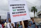 Protests in Computer Village over installation of 'Babaloja', 'Iyaloja'