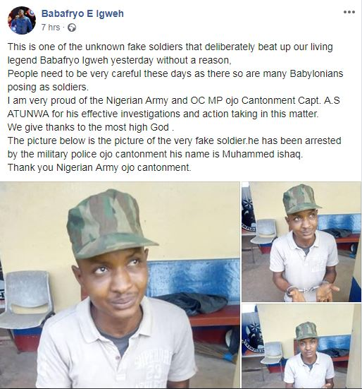 Army fishes out'fake soldier' who battered singer Baba Fryo