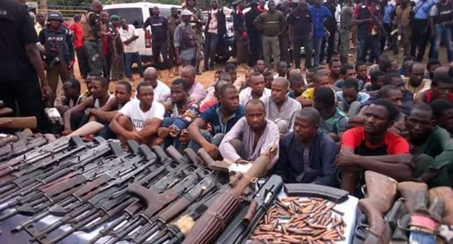 Police arrest 93 kidnappers, recover rocket launcher, 35 Ak47, others