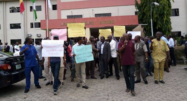 Ekiti university workers ground campus in protest over non remittance of deductions