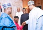 Omo-Agege kneeling to greet Buhari very sad –Omokri, others
