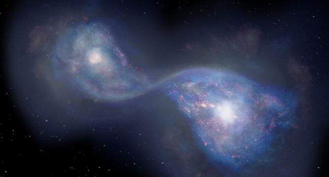 Scientists discover earliest example of merging galaxies