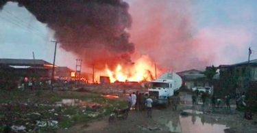 BREAKING... Lagos community in flames as fire bursts from vandalized pipeline