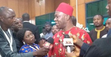 Ekweremadu addressing the press