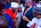 Dino greeting Buhari during budget presentation