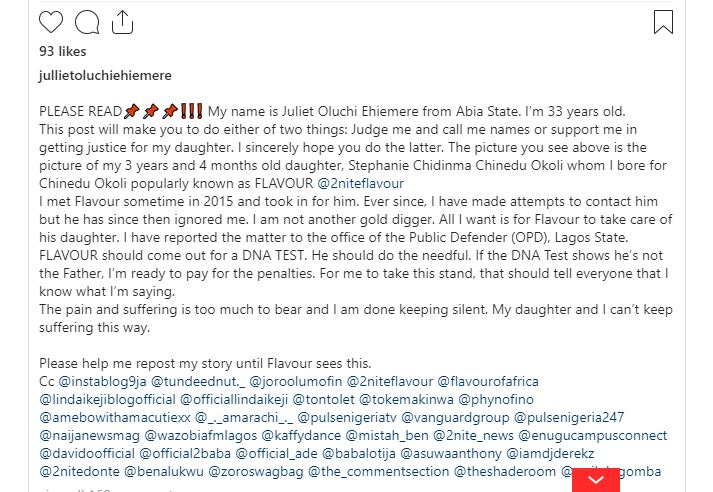 PATERNITY MESS: Lady claims Flavour is the father of her 3-yr old daughter