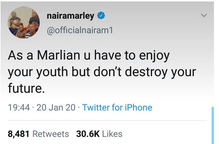 Naira Marley sends note of caution to growing army of 'Marlians'