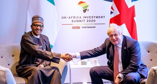 Buhari meets UK P.M Johnson, lists areas his govt has made progress