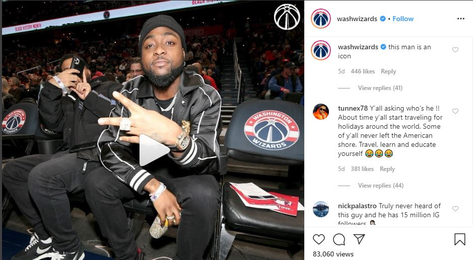 American basketball team tags Davido an icon after fans questioned his relevance