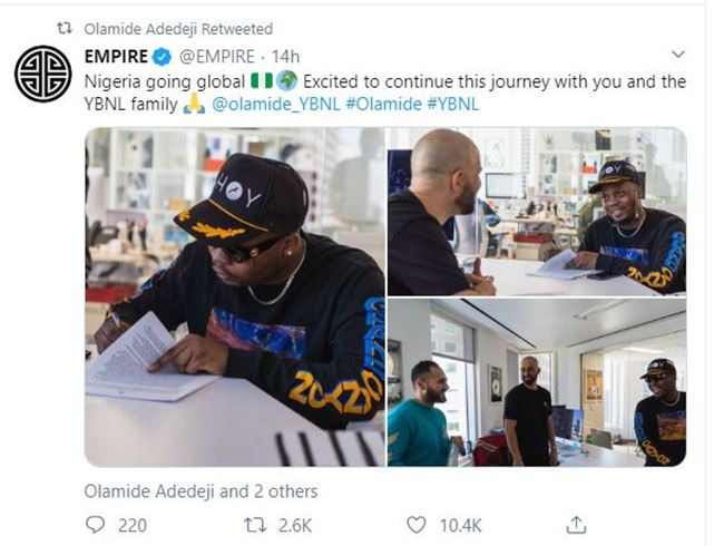 Olamide, YBNL sign joint-venture deal with American record company