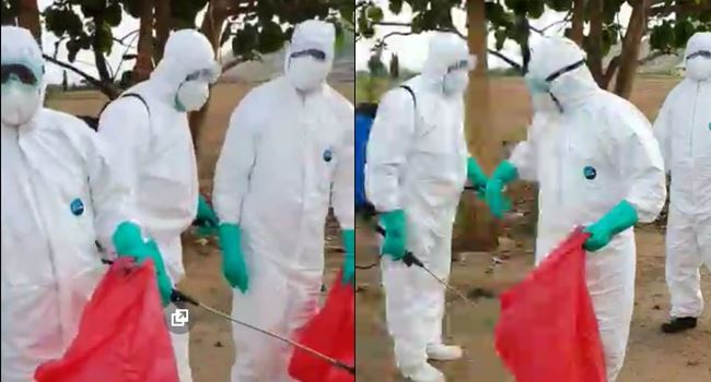 COVID-19: Officials disinfect cemetery after public outcry over govt's unprofessional conduct during Abba Kyari's burial (Video)