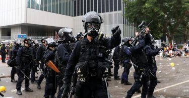 Heavily armed policemen in Hong Kong
