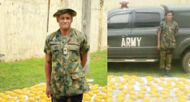 Police arrests fake soldier with 420 wraps of hemp, fake army van