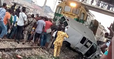 Driver, passengers escape death in Lagos as bus collides with train
