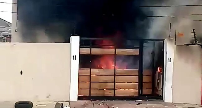 Gov Sanwo-Olu mother's house set ablaze (Video)