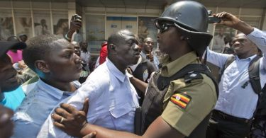 Protesters clashing with police in Kampala, Uganda