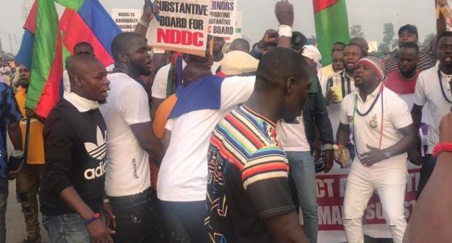 Ijaw youths protest appointment of sole administrator for NDDC, block East-West road