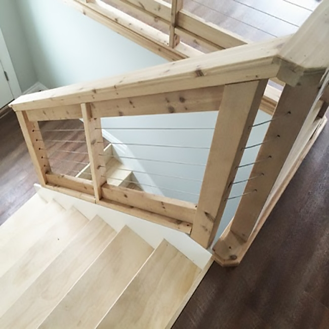 Not Just For Decks Cable Railing Looks Even Better In Your Home | Wood And Cable Stair Railing | Dark | Diy | Exterior Irregular Stair | Residential | Forgings