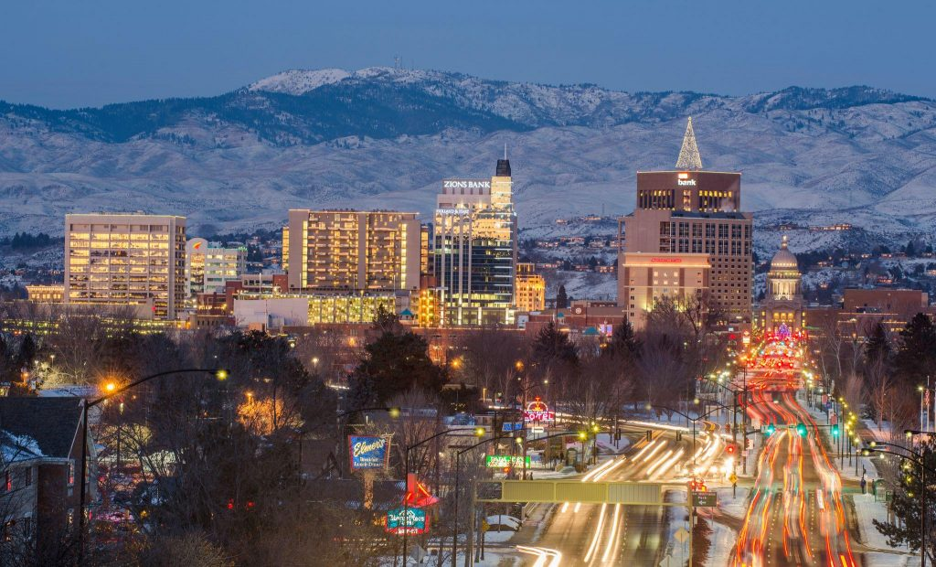View of downtown Boise at night.