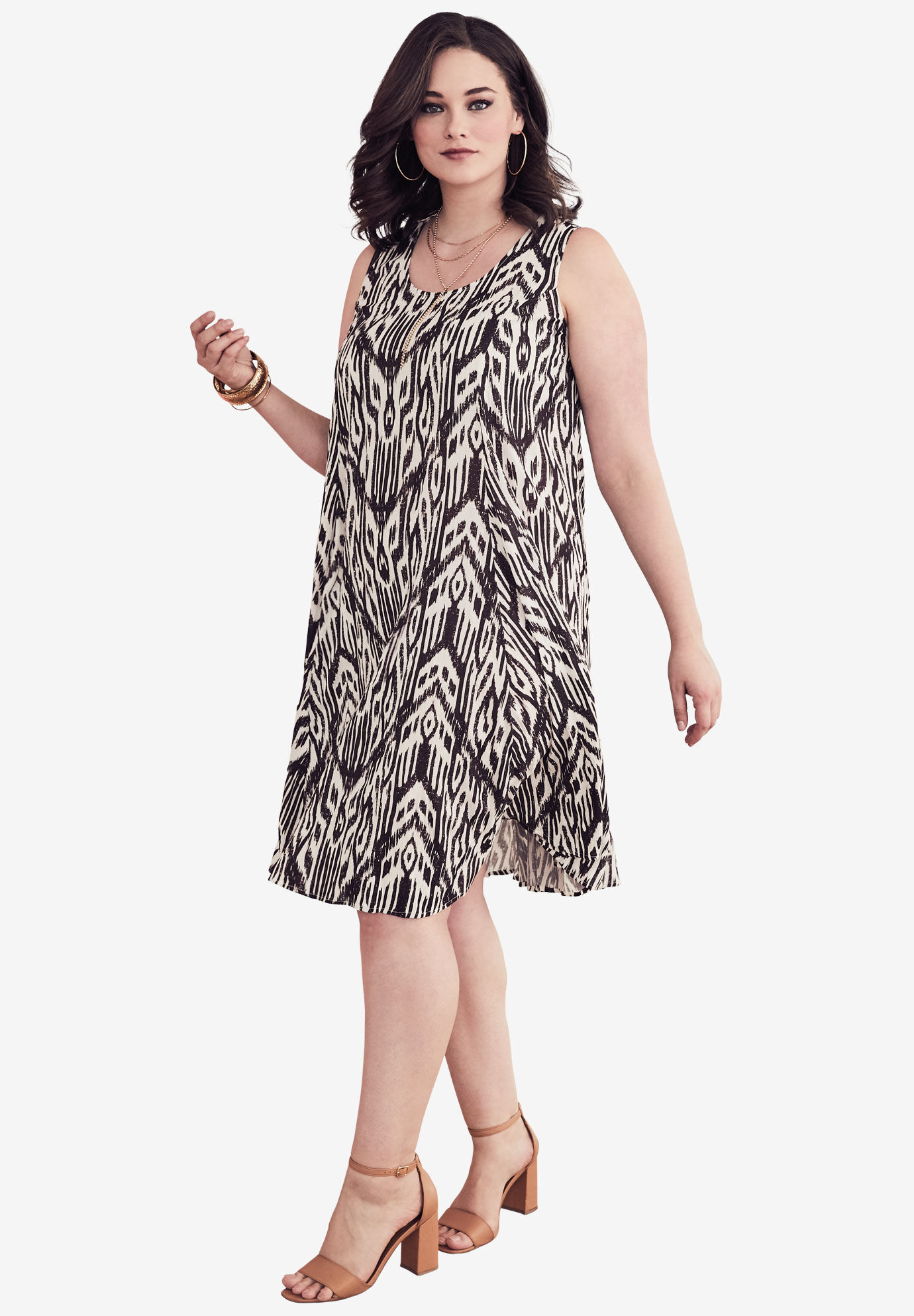 Clearance  Dresses and Suits for Plus Size Women   Roaman s Short Crinkle Dress