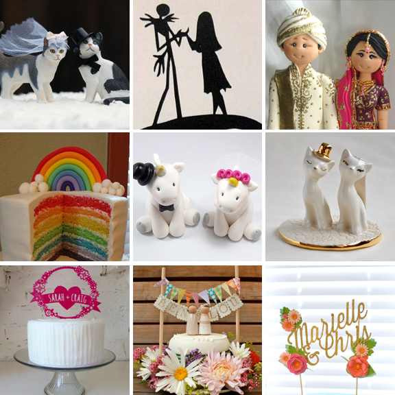 20 Amazing and Unique Wedding Cake Toppers      Rock n Roll Bride unique alternative wedding cake toppers