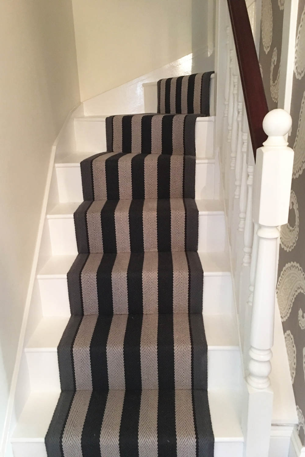Inspiration Installation Gallery Fitzroy Black Roger Oates | Roger Oates Stair Runners | Middle | Hallway | Art Deco | Corner | Victorian