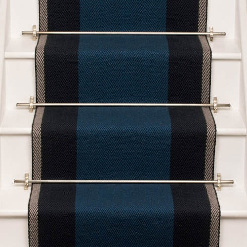 Products Runners For Stairs And Halls Blue Franklin Indigo | Roger Oates Stair Runners | Middle | Hallway | Art Deco | Corner | Victorian