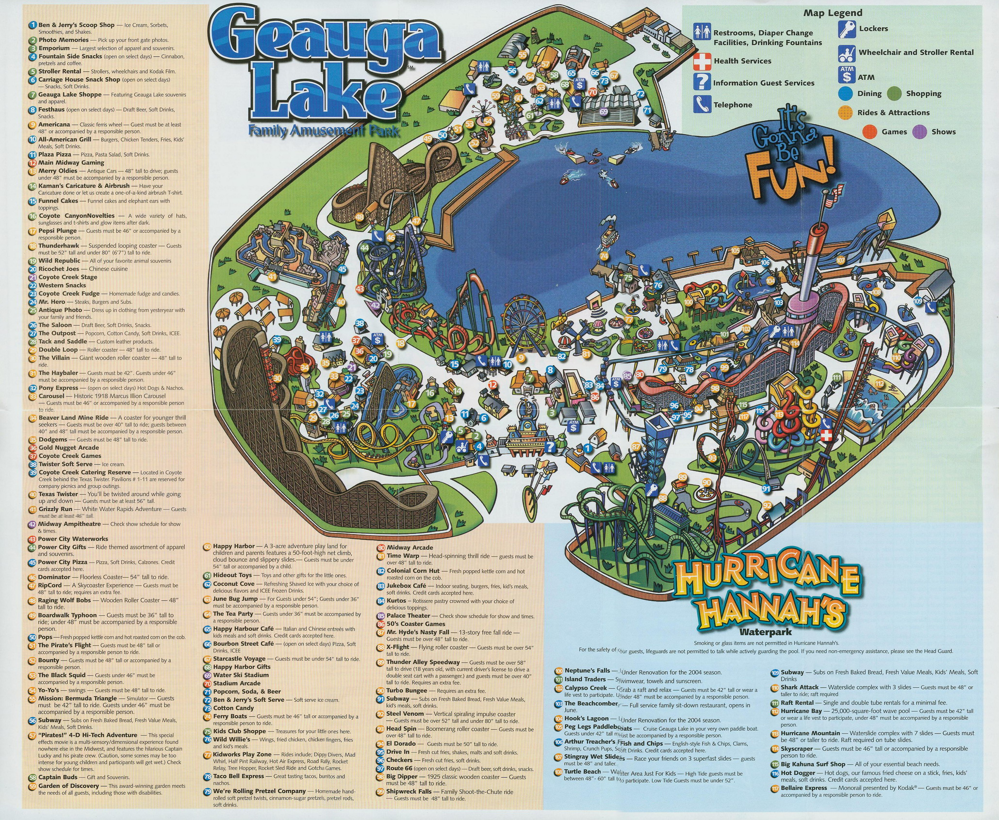 2004 Geauga Lake Park Guide Map