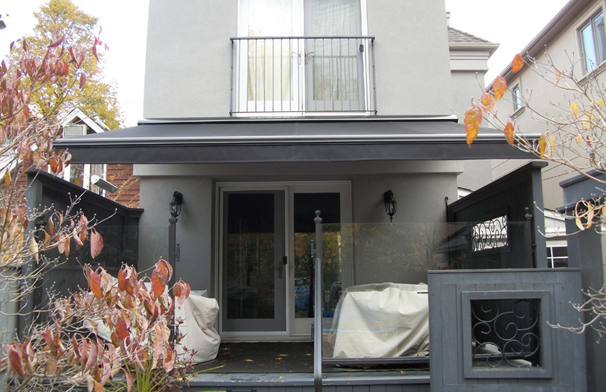 Modern Black On Grey Rolltec 174 Retractable Awnings