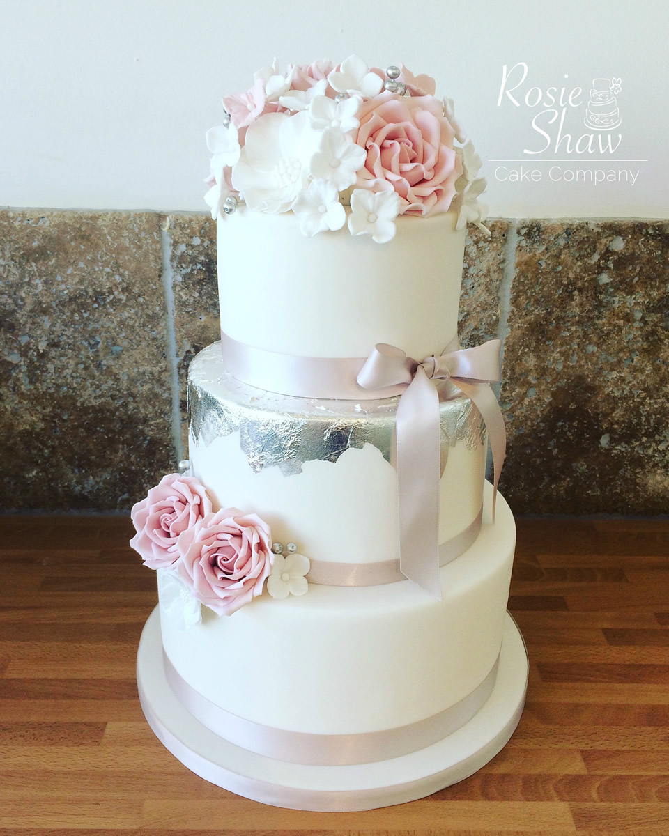 Pink and Silver Wedding Cake   Rosie Shaw Cake Company  Bristol Pink and Silver Wedding Cake