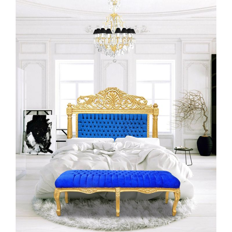 Flat Bench Louis Xv Style Blue Velvet Fabrics And Gold Wood