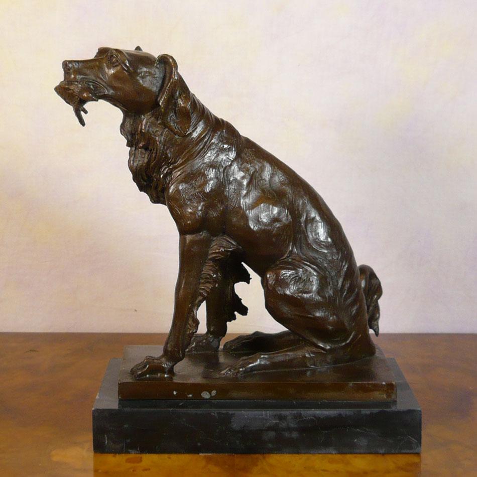 The Spaniel Hunting Bronze Statue Animal