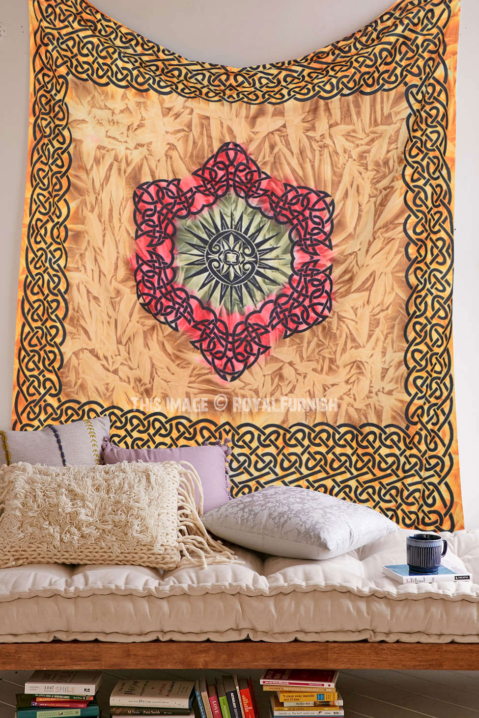 Multi Large Celtic Diamond Tapestry Wall Hanging Tie Dye