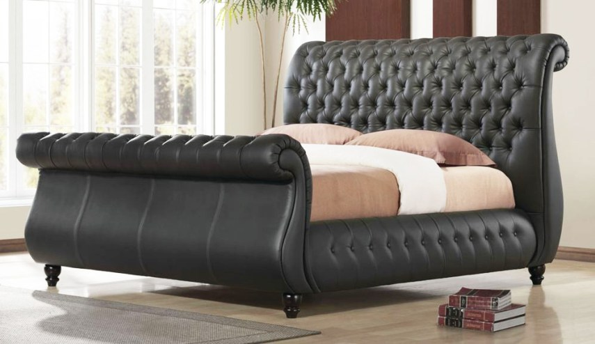 black king size sleigh bed bedroomwith leather sleigh king bed with     black king size sleigh bed bedroomwith leather sleigh